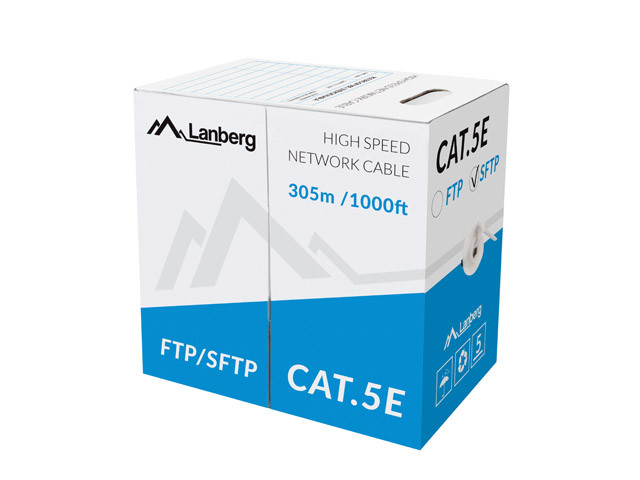 LAN CABLE SFTP CAT.5E 305M SOLID CU GREY LANBERG