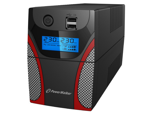 UPS LINE-INTERACTIVE 650VA POWER WALKER, 2X 230V PL OUT, USB, LCD, 2X USB CHARGER, GAMING